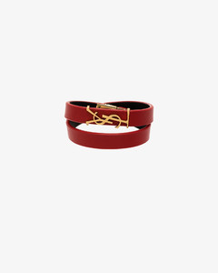 Red YSL Logo Leather Bracelet