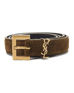 Monogram suede belt