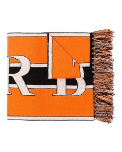orange, black and white logo knit cashmere scarf