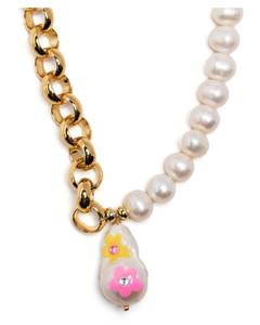 白色Intrecciato环形钥匙扣