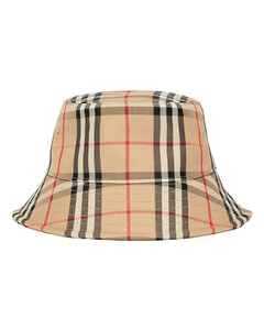 Check Cotton Blend Bucket Hat