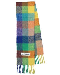羊驼毛混纺格纹围巾