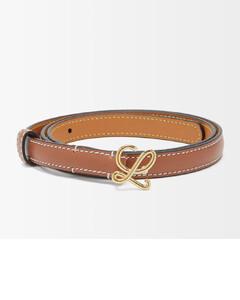 Monogram-buckle leather belt