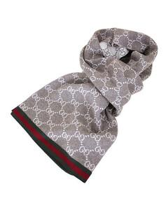 古驰GG字母双面织带羊毛围巾