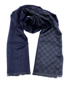 古驰GG字母图半网格羊毛围巾