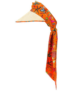 Tresor De La Mer All Over Scarf Hat in Orange
