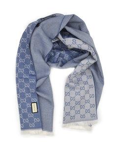 古驰GG字母半网格羊毛围巾-浅蓝色