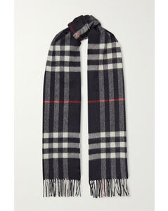 Net Sustain Fringed Checked Cashmere Scarf