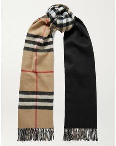 Reversible Fringed Checked Cashmere Scarf
