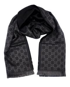 古驰GG字母织带羊毛围巾-棕黑色