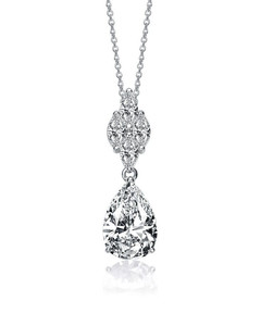 Sterling Silver Pear and Marquise Cubic Zirconia Drop Necklace