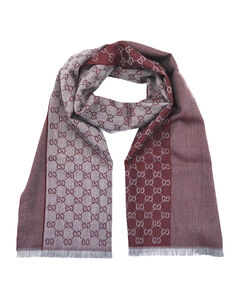古驰酒红色GG字母图案双面织带羊毛围巾