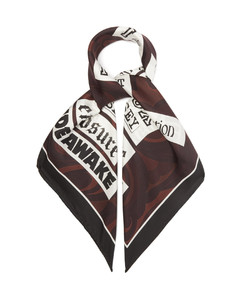 Swirl-print silk-twill scarf