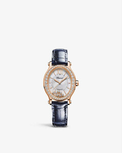 275362-5002 Happy Sport 18ct rose-gold, 1.42ct diamond and alligator-embossed leather watch