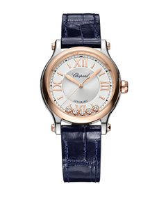 Rose Gold, Stainless Steel and Diamond Happy Sport Automatic Watch 33mm