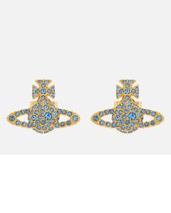 Women's Grace Bas Relief Stud Earrings - Gold Light Sapphire