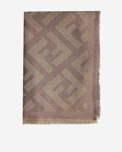 FF logo wool and cashmere shawl