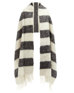Striped arm-hole knitted scarf