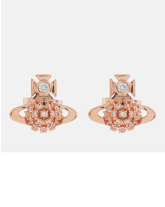 Women's Donna Bas Relief Earrings - Pink Gold White CZ
