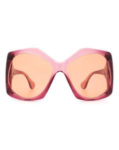 Numbers Logo Circle Earrings in Metallic Gold