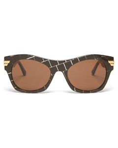 Intrecciato-print square acetate sunglasses