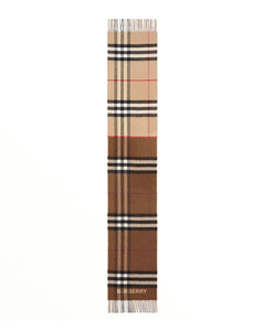 Cashmere scarf with contrasting tartan motifs