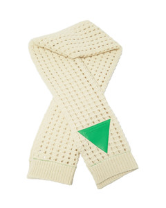 Triangle-patch open-knit wool scarf