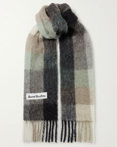Fringed Checked Knitted Scarf