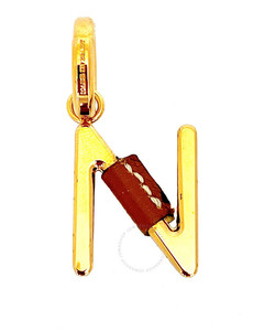 Leather-Wrapped N Alphabet Charm in Light Gold/Tan