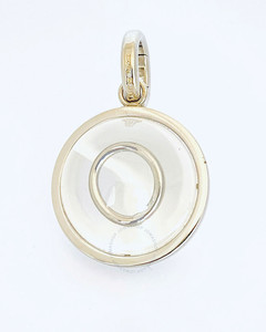 Marbled Resin 'O' Alphabet Charm In Palladium/Mother-Of-Pearl
