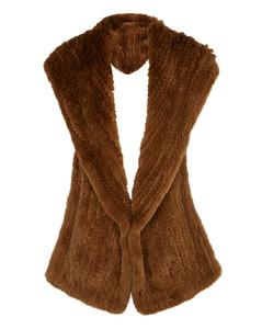 Brown hooded fur scarf