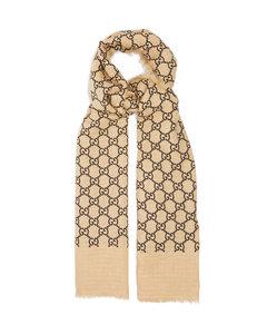 GG-print linen-blend scarf