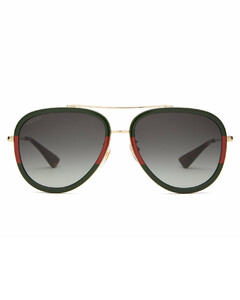 Web-stripe aviator metal sunglasses