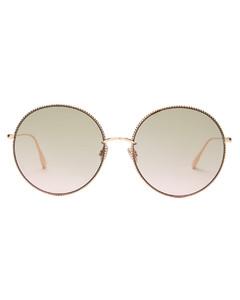 society2f chain-rim round metal sunglasses