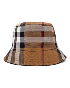 Canvas Check Bucket Hat in Brown