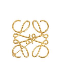 Gold-tone logo brooch