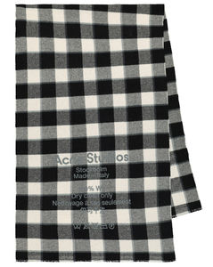 Logo格纹羊毛围巾