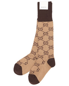 Gg Jacquard Logo Cotton Blend Socks