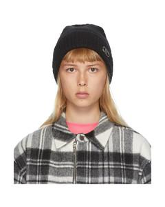 黑色徽标毛线帽