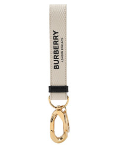 Wristlet Logo Print Canvas Key Holder