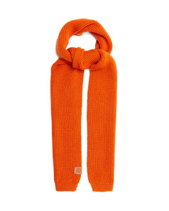 Logo-patch ribbed-wool scarf