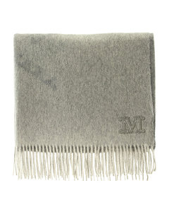 Cashmere stole with logo embroidery