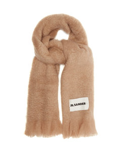Fringed mohair-blend scarf