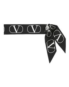 Garavani VLOGO正反两用真丝斜纹布围巾