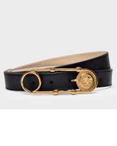Belt In Black-tribute Gold Calfskin