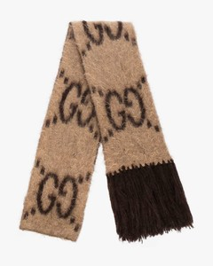 beige and brown GG scarf