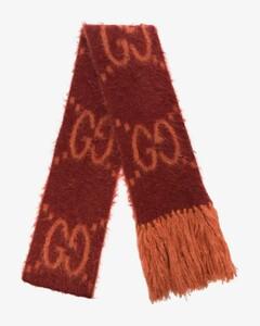 red and orange GG logo intarsia scarf