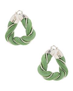 Twisted Triangle Earrings in Green