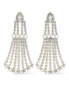 Woman 24-karat Gold-plated Crystal And Faux Pearl Earrings