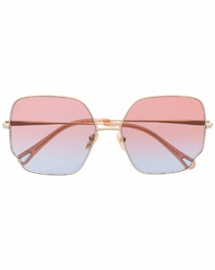 Rose gold-tone oval-frame sunglasses